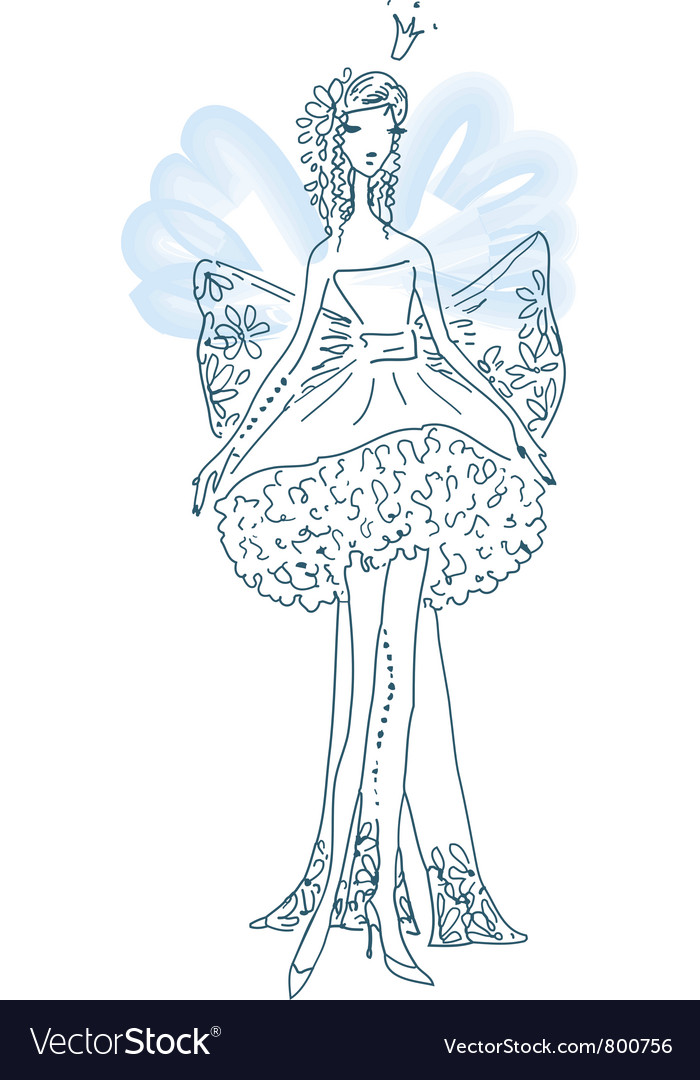 Ornate silhouette of the elf bride with wings vector | Price: 1 Credit (USD $1)