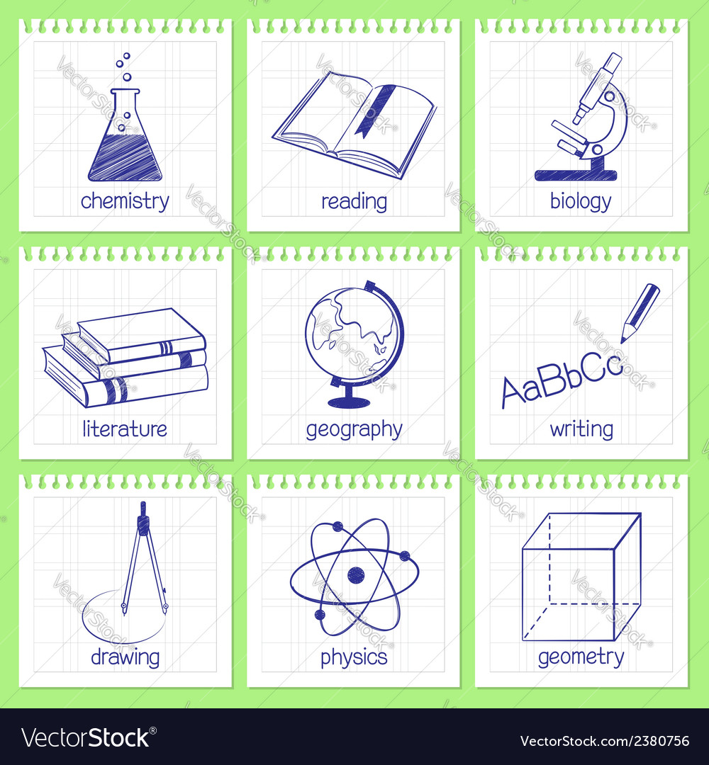 School subjects icons vector | Price: 1 Credit (USD $1)
