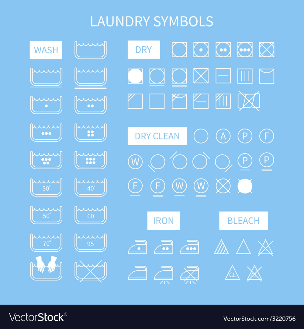 Set of line simple washing instruction symbols vector | Price: 1 Credit (USD $1)