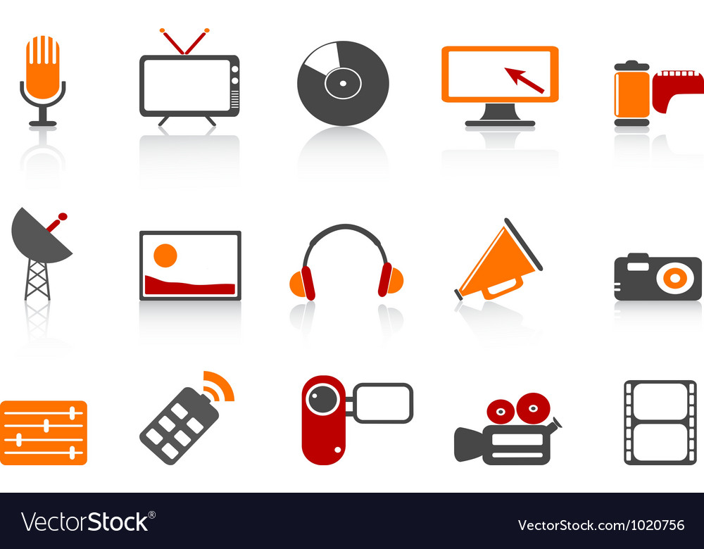 Simple media tools icon set vector | Price: 1 Credit (USD $1)