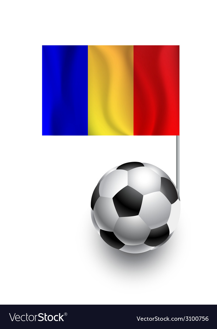 Soccer balls or footballs with flag of romania vector | Price: 1 Credit (USD $1)