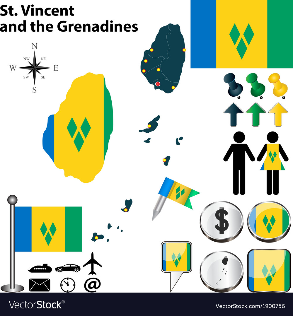 St vincent and the grenadines map vector | Price: 1 Credit (USD $1)