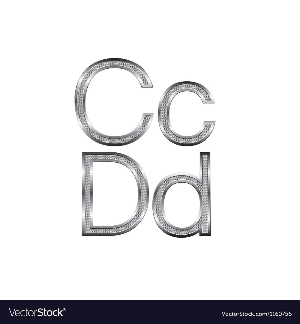 Thin diamond metal letters on white 02 vector | Price: 1 Credit (USD $1)