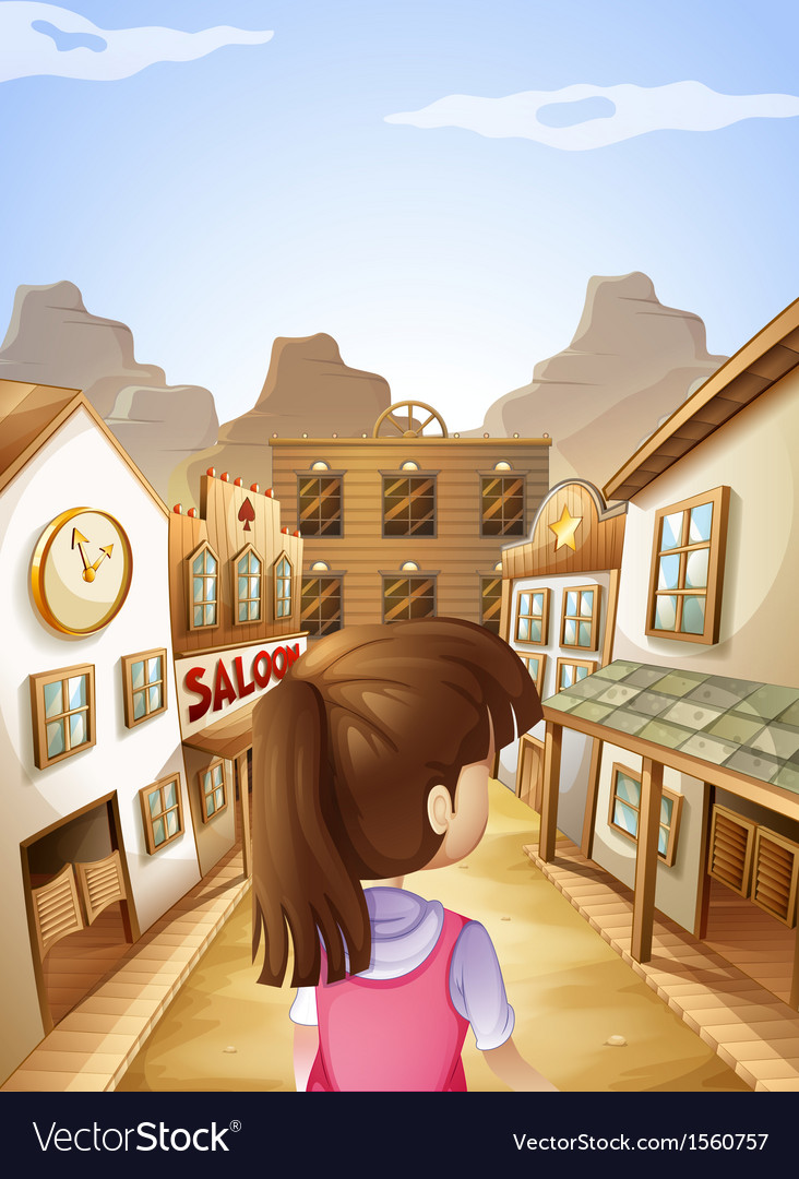 A young lady going to the saloon bar vector | Price: 3 Credit (USD $3)