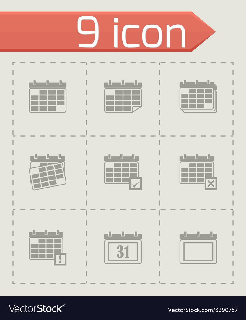 Black calendar icon set vector   Price: 1 Credit (USD $1)
