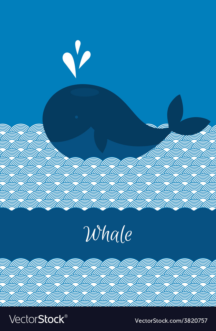 Blue whale with sea vector | Price: 1 Credit (USD $1)