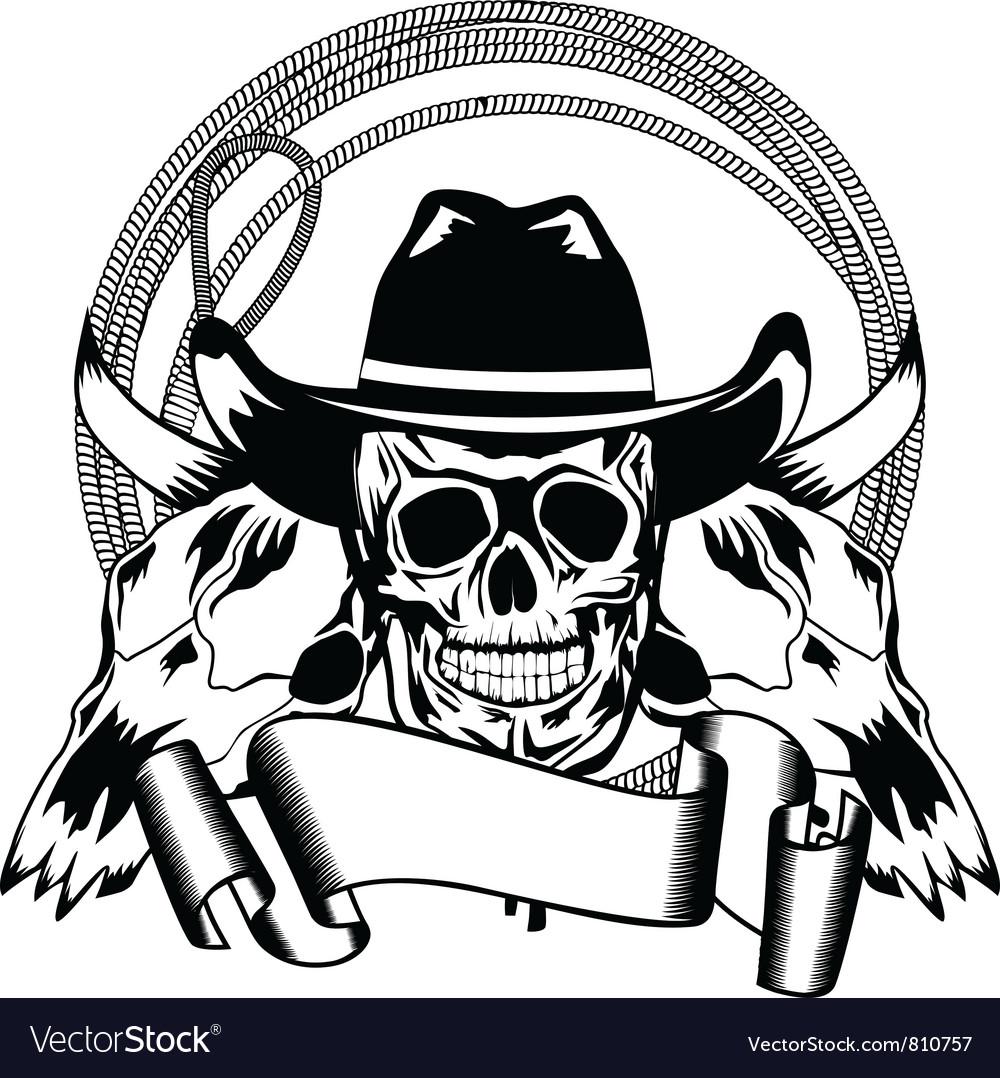 Cowboy and skull bull vector | Price: 1 Credit (USD $1)