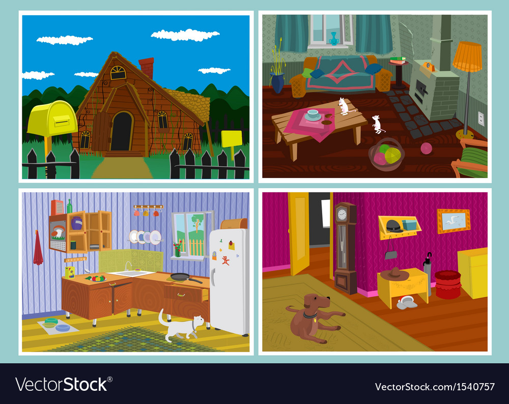 Old house set vector | Price: 5 Credit (USD $5)