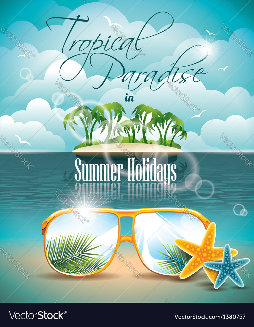 Paradise island on clouds background vector | Price: 3 Credit (USD $3)