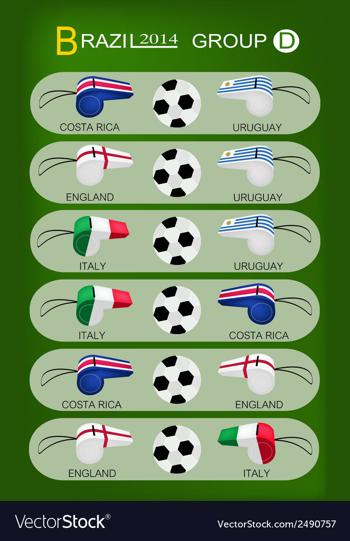 Soccer tournament of brazil 2014 group d vector | Price: 1 Credit (USD $1)