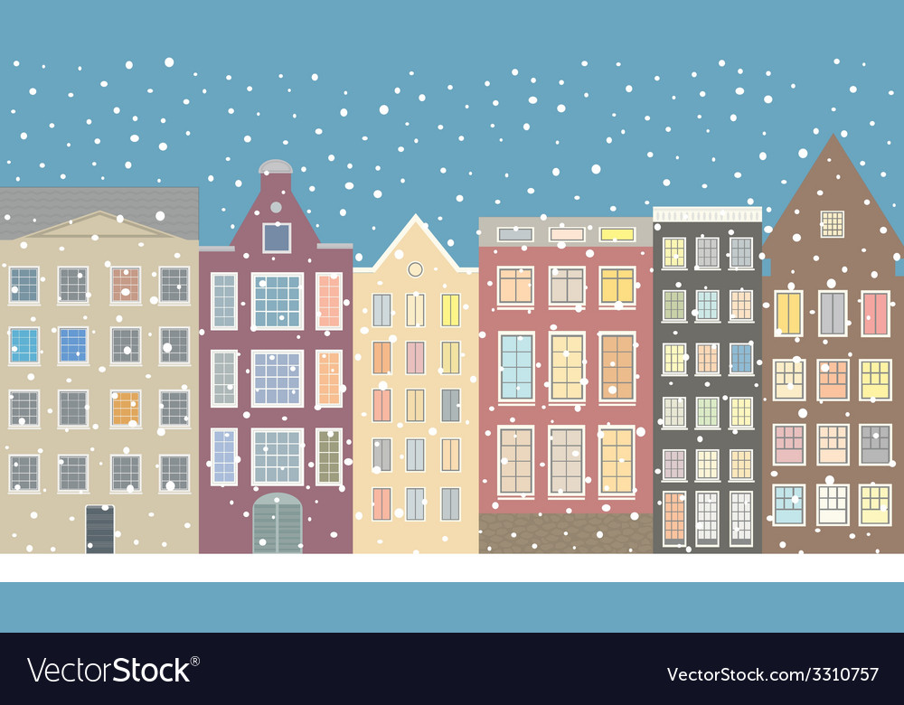 Street houses of the old city and snow vector | Price: 1 Credit (USD $1)