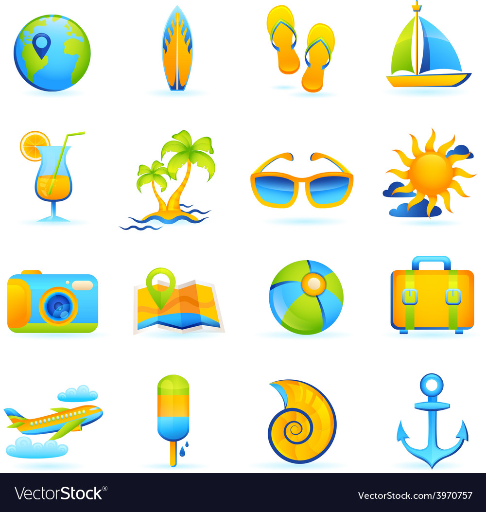 Summer vacation set vector | Price: 1 Credit (USD $1)