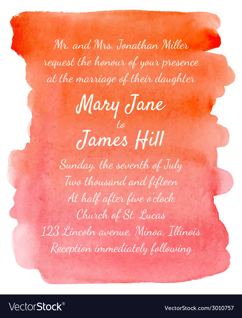 Wedding invitation with watercolor background vector | Price: 1 Credit (USD $1)