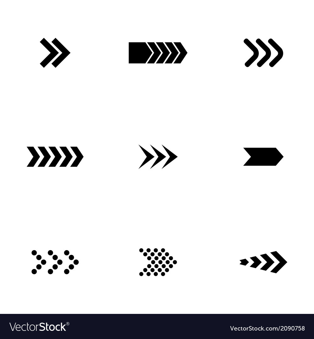 Black arrows icons set vector | Price: 1 Credit (USD $1)