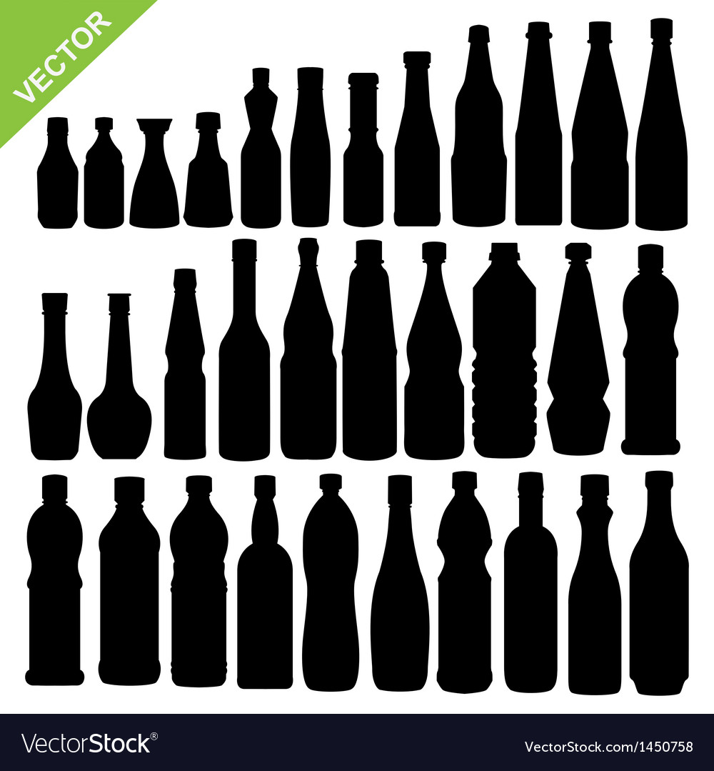 Bottle silhouettes vector | Price: 1 Credit (USD $1)