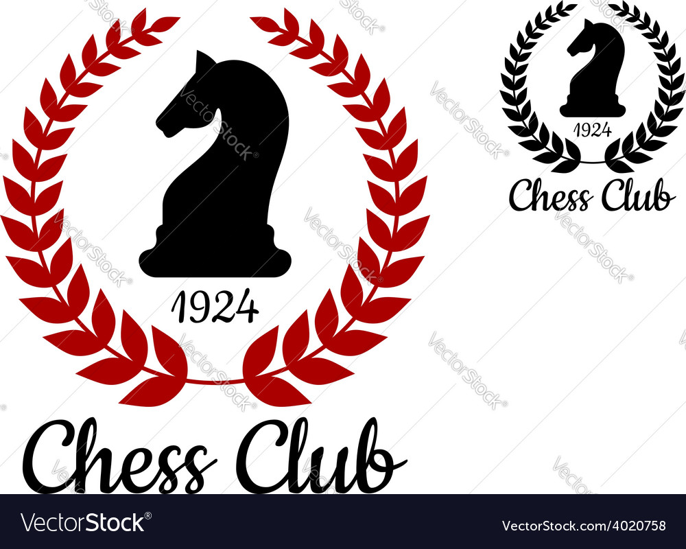 Chess club emblem with horse figure vector
