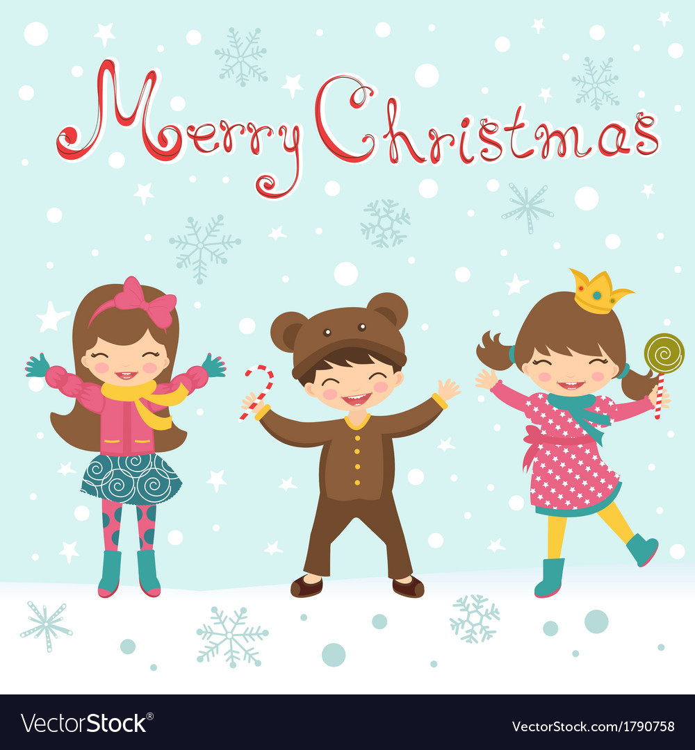 Christmas card with happy kids vector | Price: 1 Credit (USD $1)