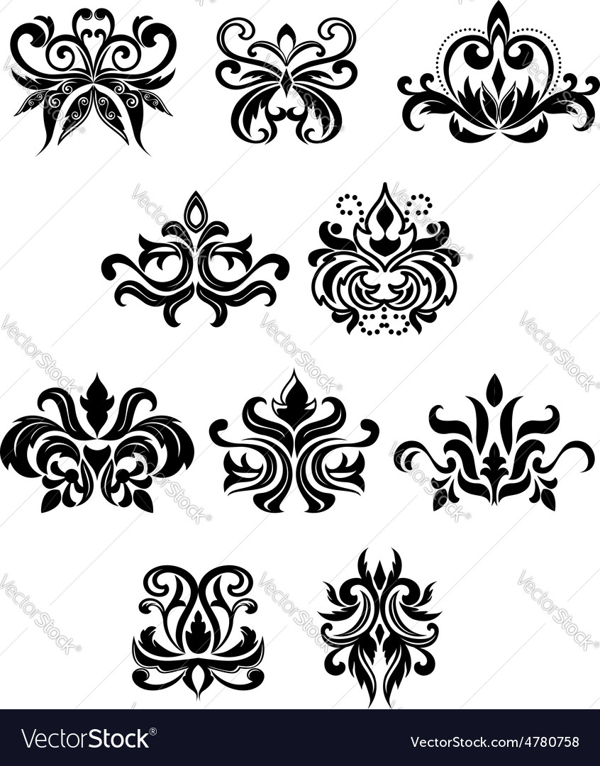 Damask black flowers set with buds vector   Price: 1 Credit (USD $1)