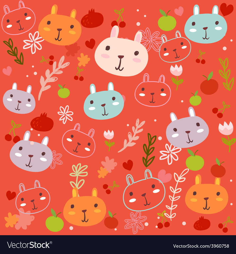 Fancy bunny red pattern vector | Price: 1 Credit (USD $1)