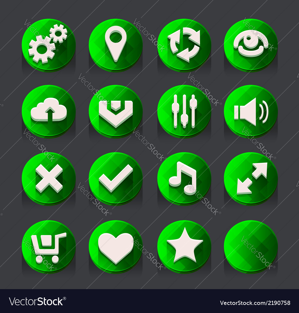 Green web icons collection 2 vector | Price: 1 Credit (USD $1)