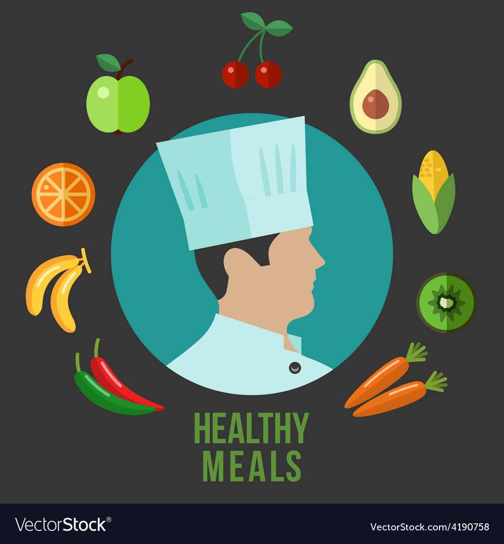 Healthy food cooking flat icons vector | Price: 1 Credit (USD $1)