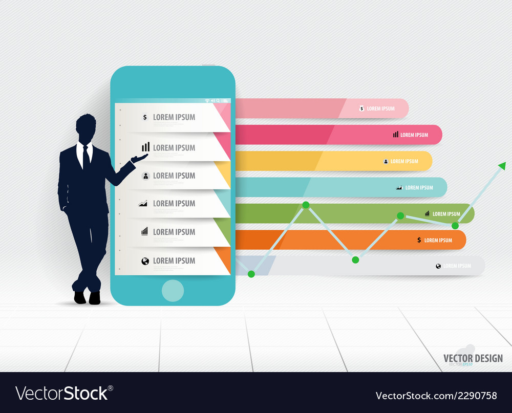 Infographic design template businessman showing vector   Price: 1 Credit (USD $1)