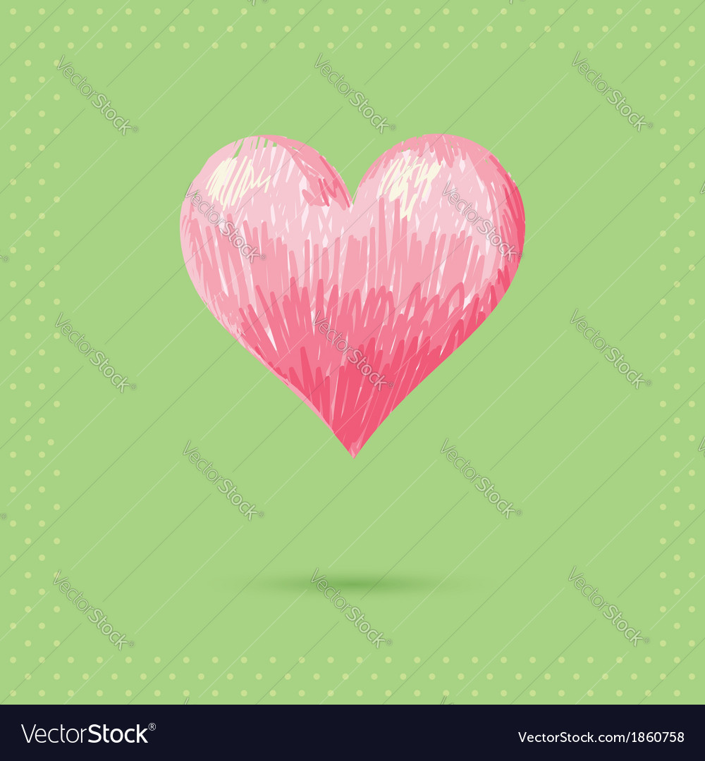 Romantic valentine sketch heart invitation postcar vector | Price: 1 Credit (USD $1)
