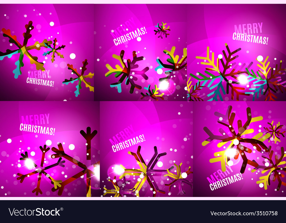 Set of colorful shiny chrismas cards vector | Price: 1 Credit (USD $1)