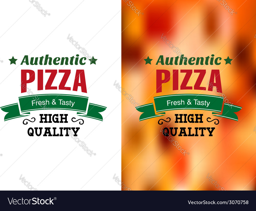 Two pizza badges or labels vector | Price: 1 Credit (USD $1)