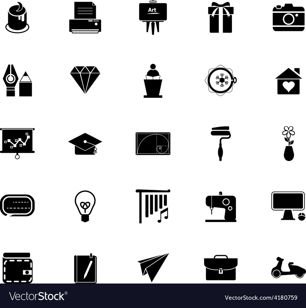 Art and creation icons on white background vector | Price: 1 Credit (USD $1)