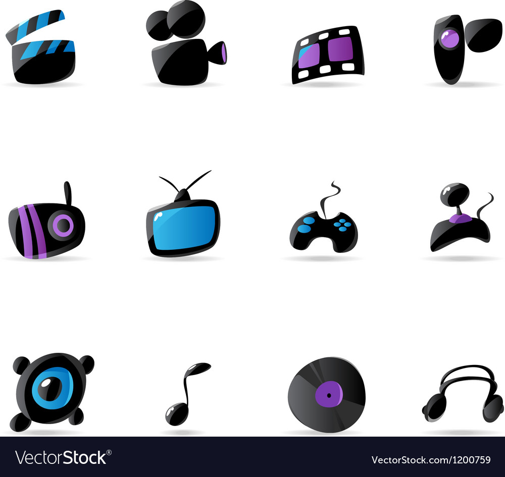 Bright media game and music icons vector | Price: 1 Credit (USD $1)