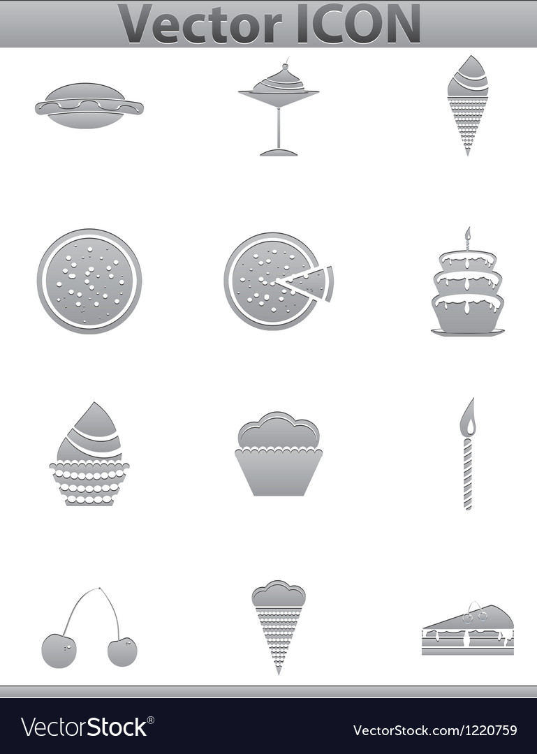 Brown cake icons set cup and cafe icon vector | Price: 1 Credit (USD $1)