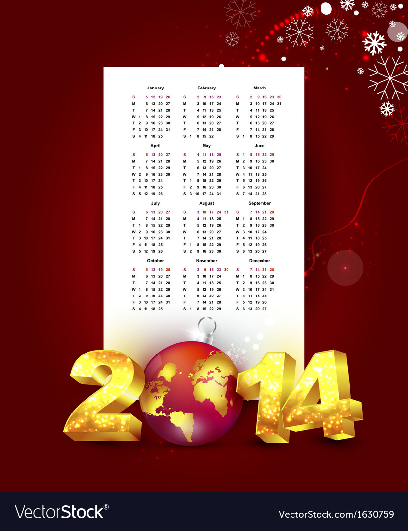 Calendar for 2014 with new year background vector | Price: 1 Credit (USD $1)