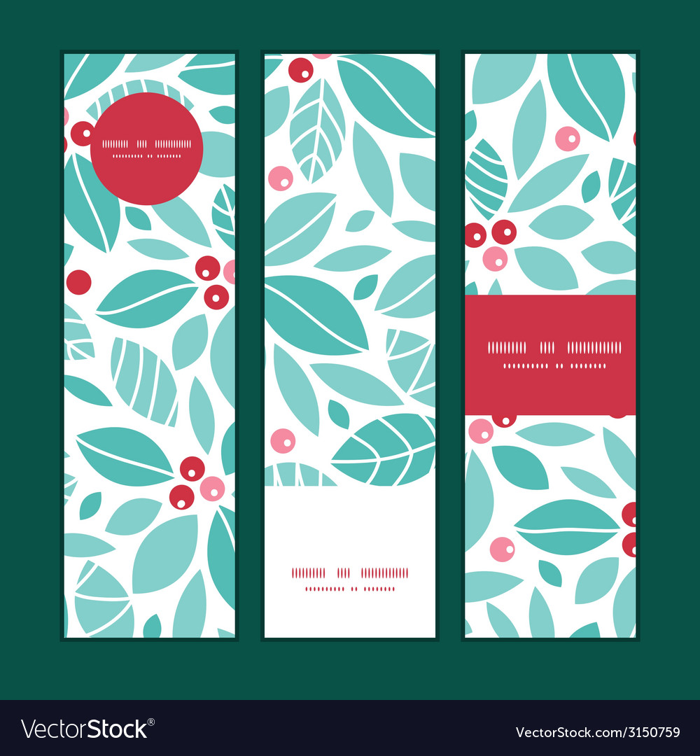 Christmas holly berries vertical banners set vector | Price: 1 Credit (USD $1)