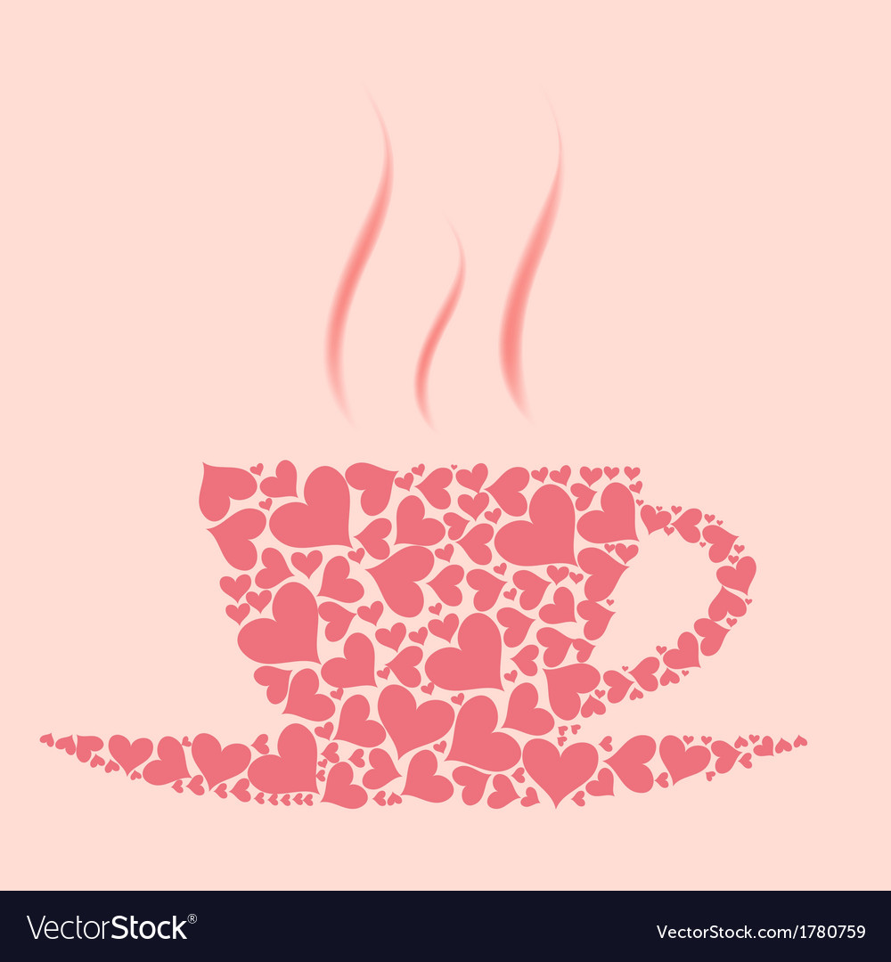 Coffee cup from red hearts vector | Price: 1 Credit (USD $1)