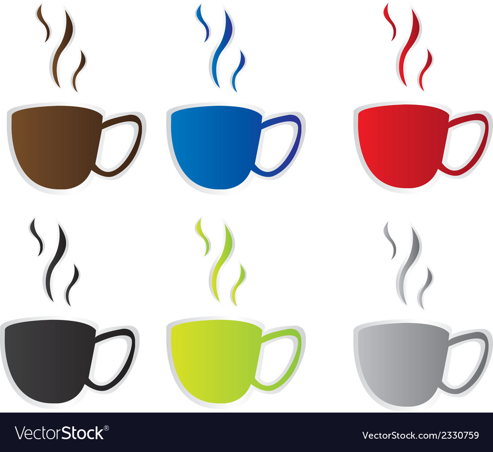Coffee cup stickers vector | Price: 1 Credit (USD $1)