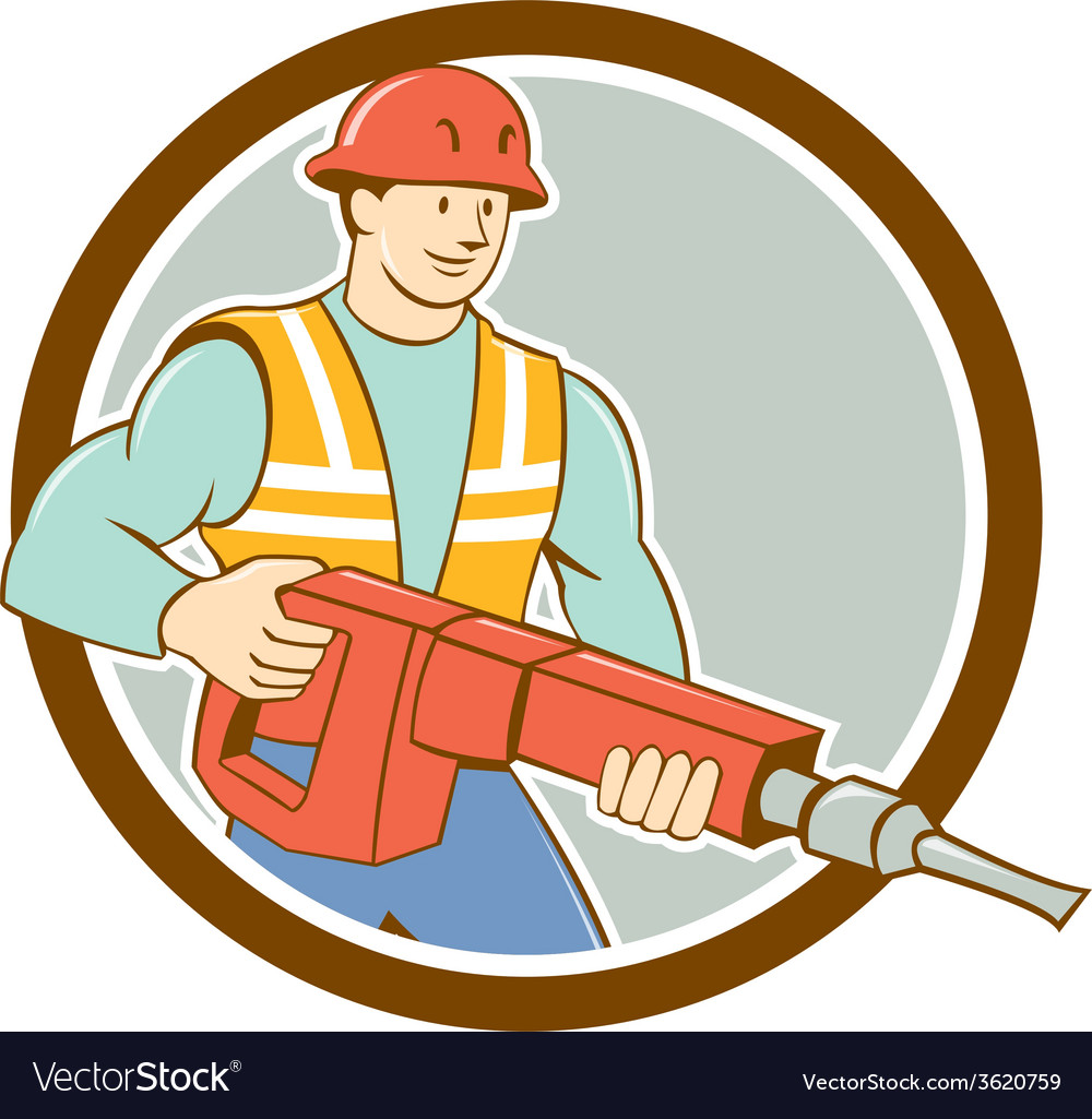 Construction worker jackhammer circle cartoon vector | Price: 1 Credit (USD $1)