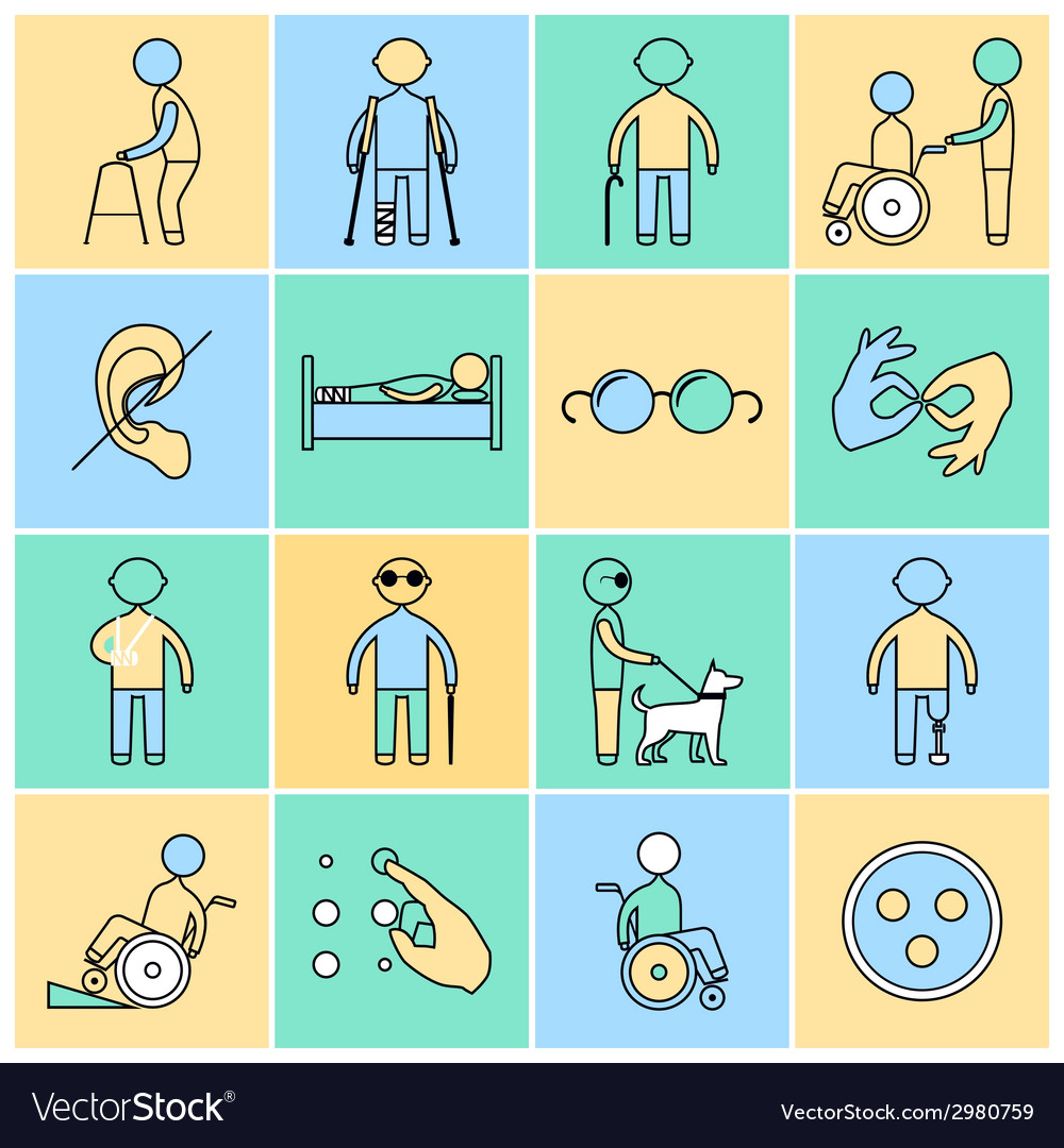 Disabled icons set flat line vector | Price: 1 Credit (USD $1)