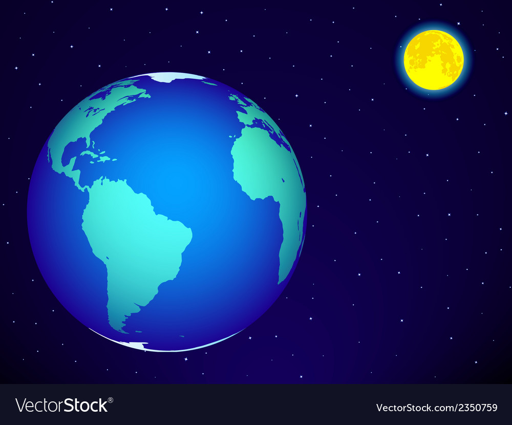 Earth and moon vector | Price: 1 Credit (USD $1)