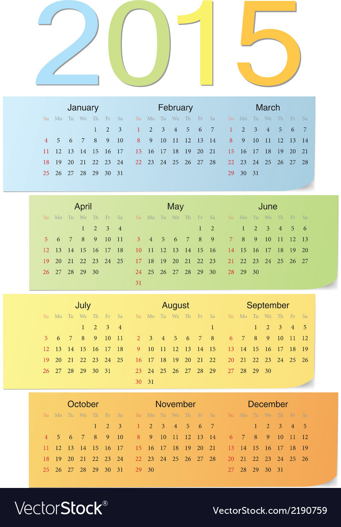 European color calendar 2015 vector | Price: 1 Credit (USD $1)