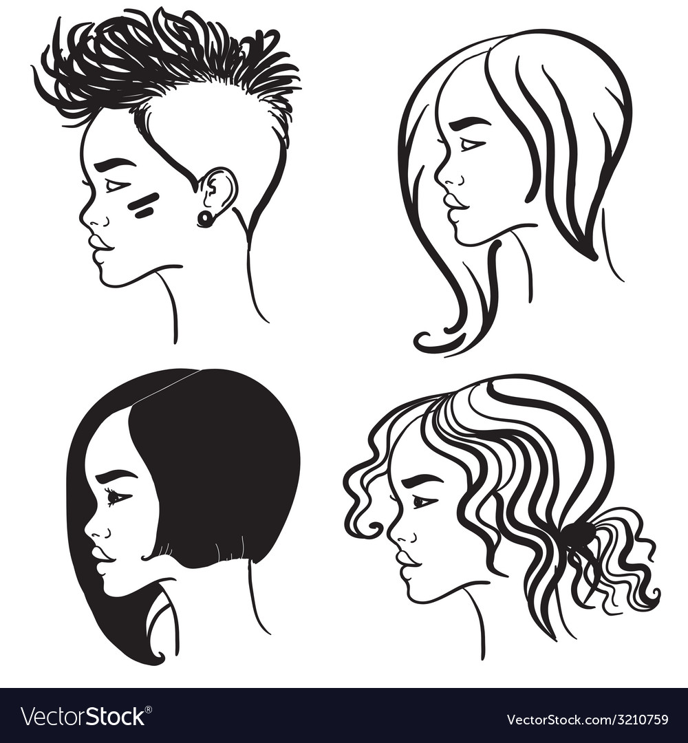 Four face in profile silhouettes of girls vector | Price: 1 Credit (USD $1)