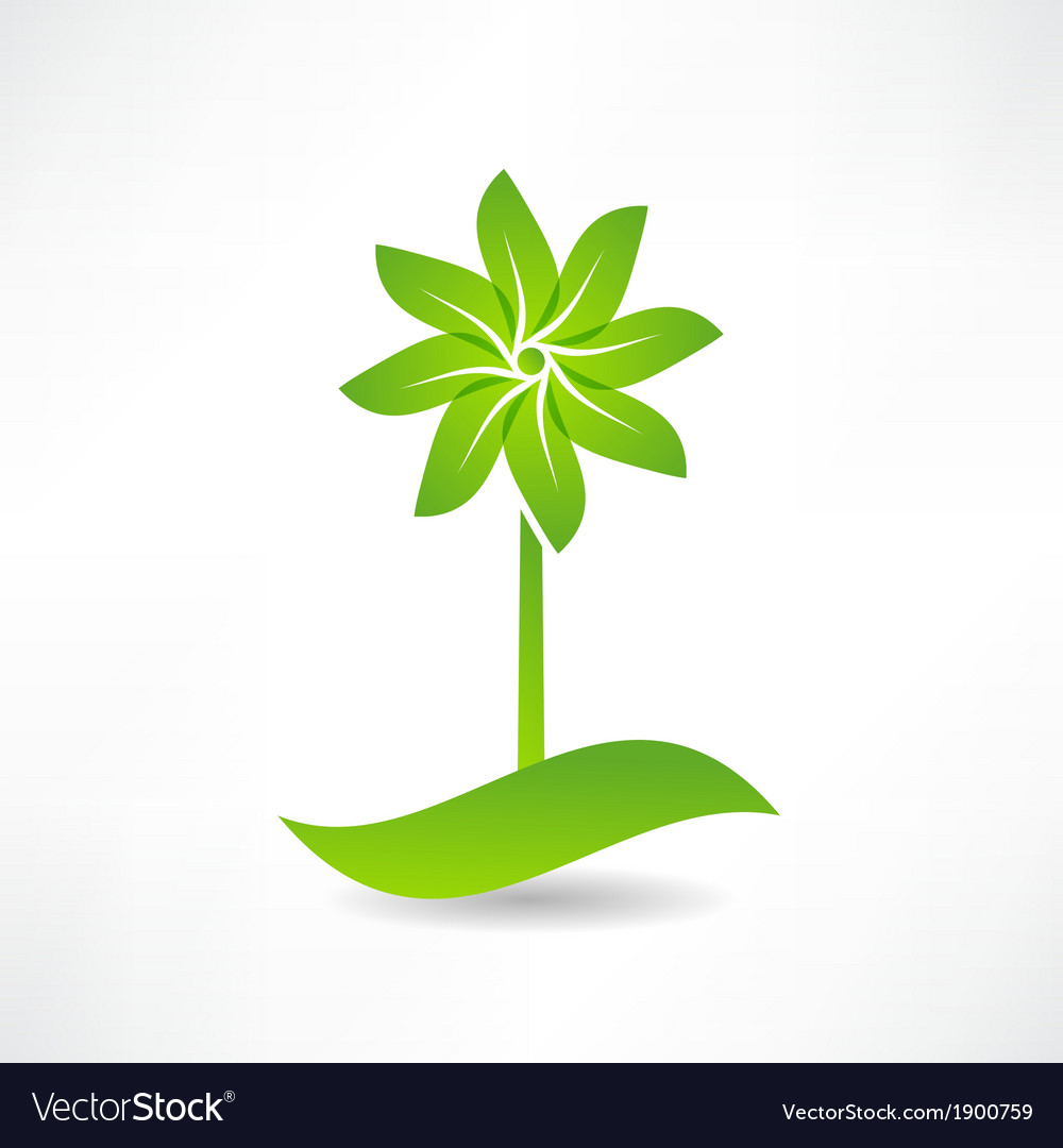 Green windmill design element icon vector | Price: 1 Credit (USD $1)