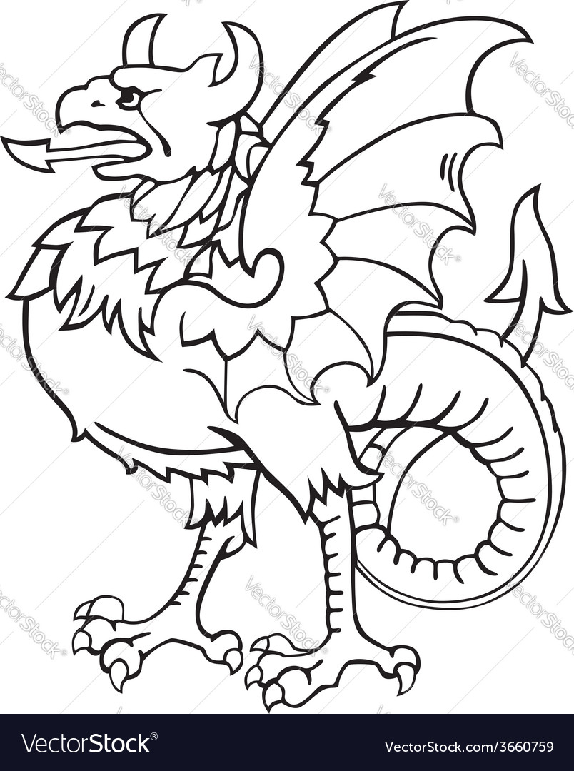 Heraldic dragon no7 vector | Price: 1 Credit (USD $1)