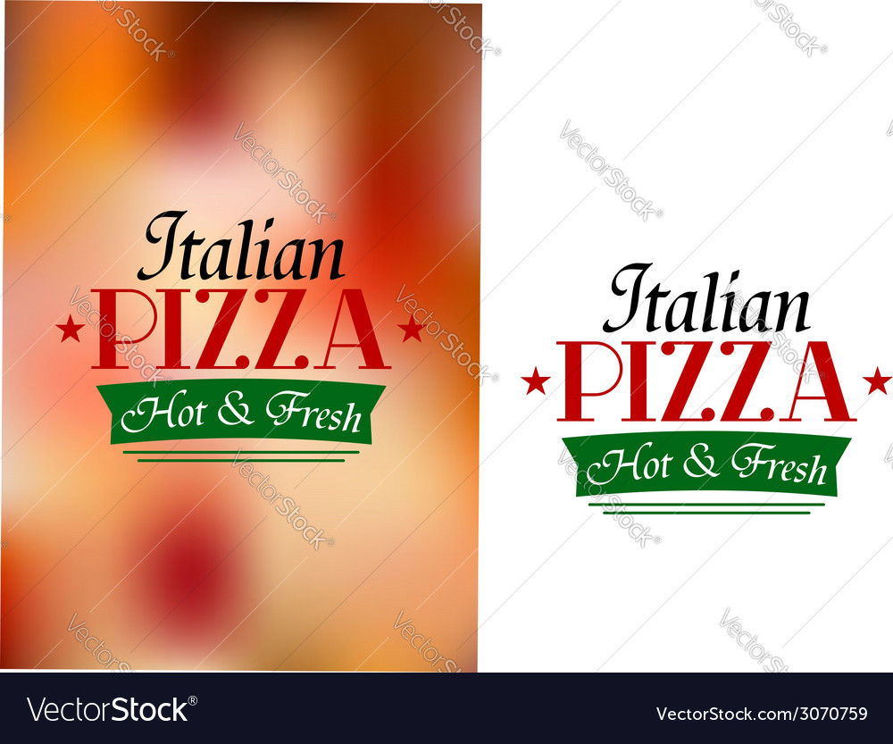 Italian pizza sign or label vector | Price: 1 Credit (USD $1)
