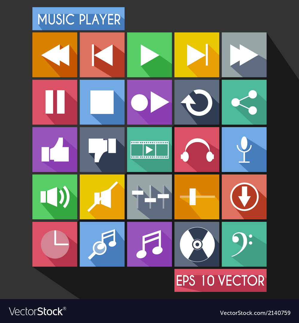 Music player flat icon long shadow vector   Price: 1 Credit (USD $1)