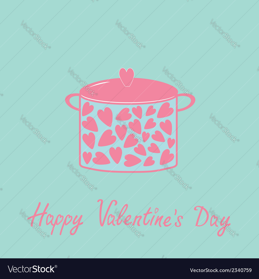 Pot with hearts happy valentines day card pink and vector | Price: 1 Credit (USD $1)