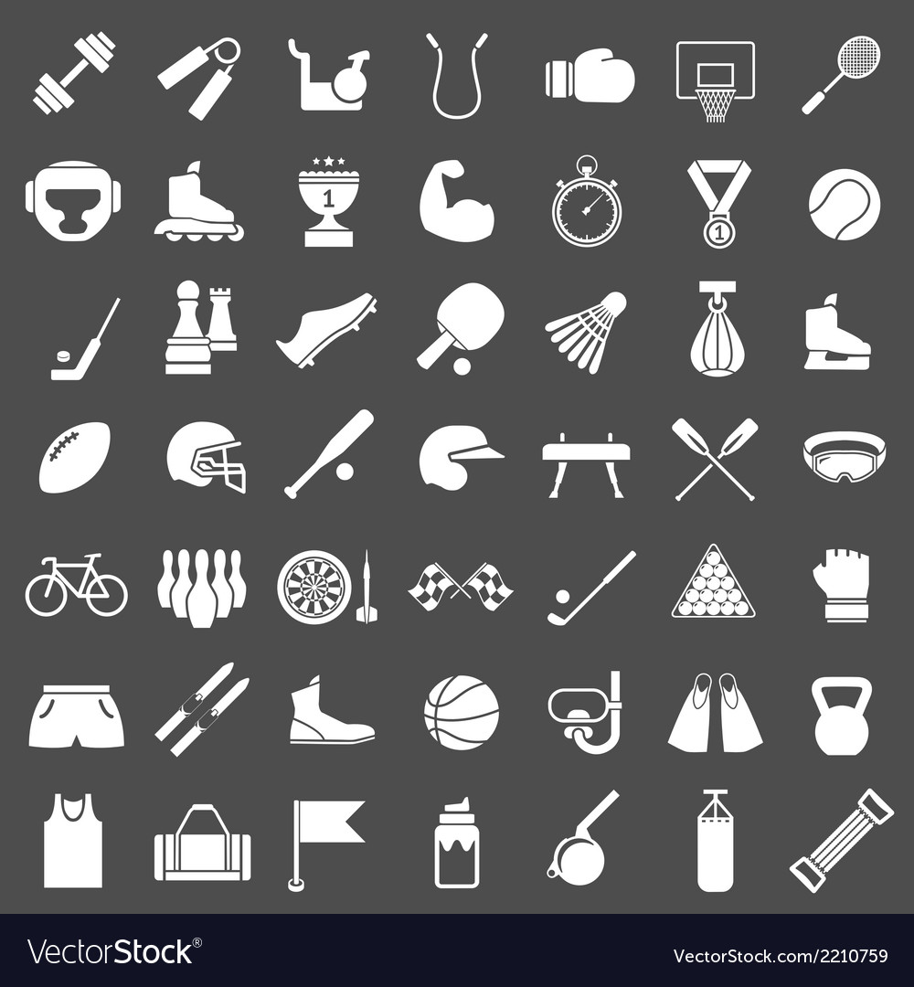 Set icons of sports and fitness equipment vector | Price: 1 Credit (USD $1)