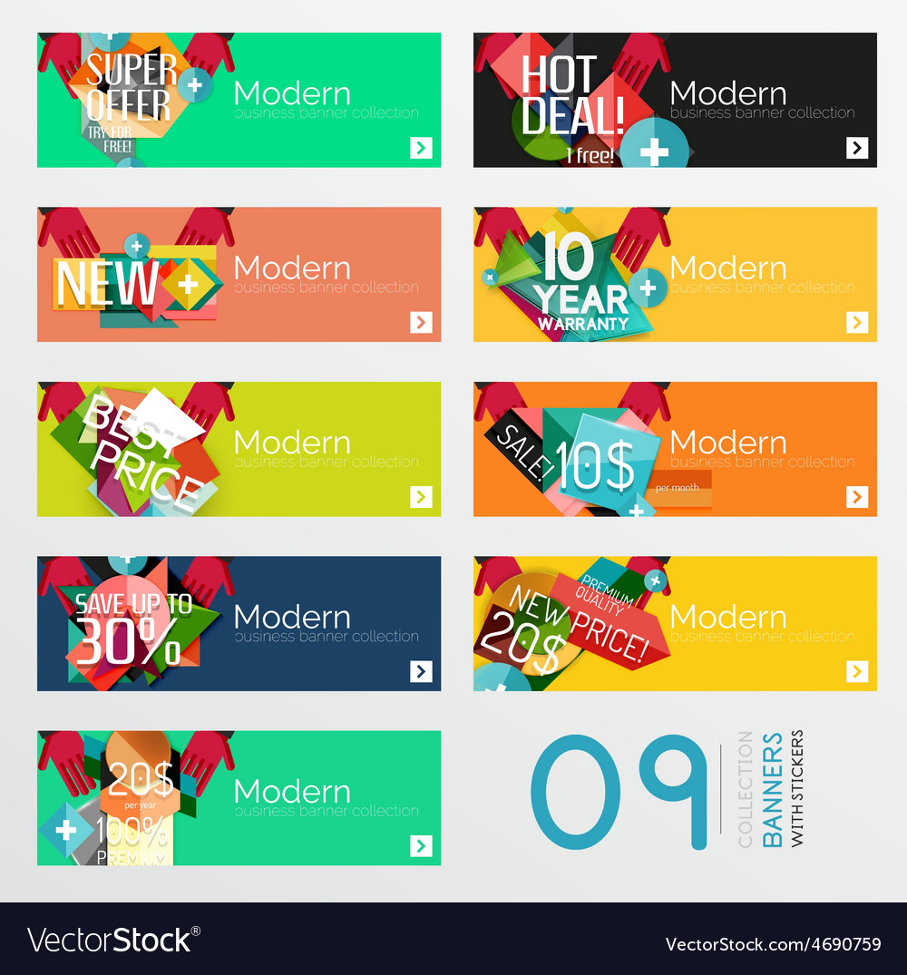 Set of banners with stickers labels and elements vector   Price: 1 Credit (USD $1)