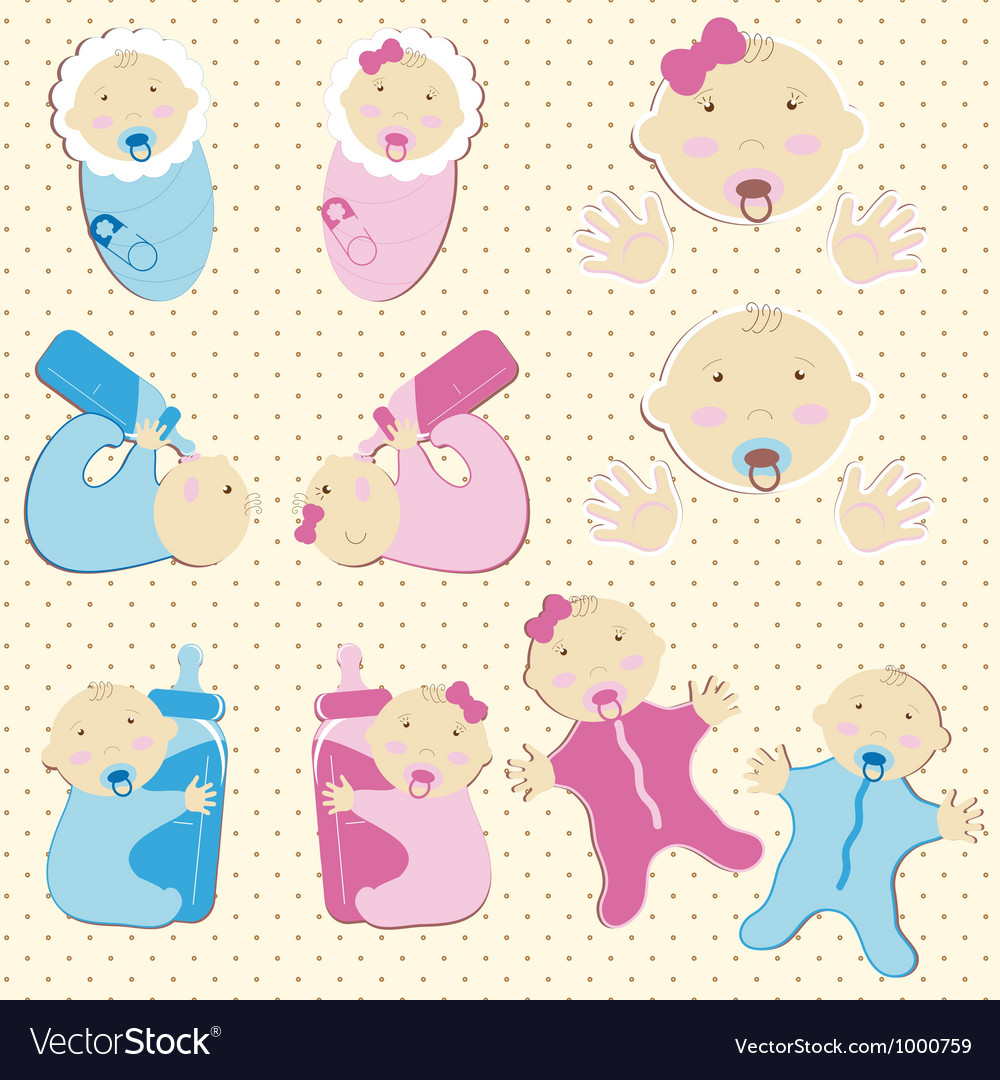 Set of twins baby boy and girl vector | Price: 1 Credit (USD $1)