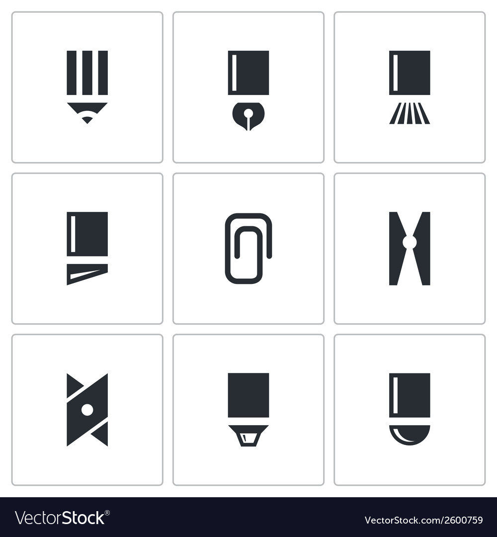 Stationery items icon collection vector | Price: 1 Credit (USD $1)